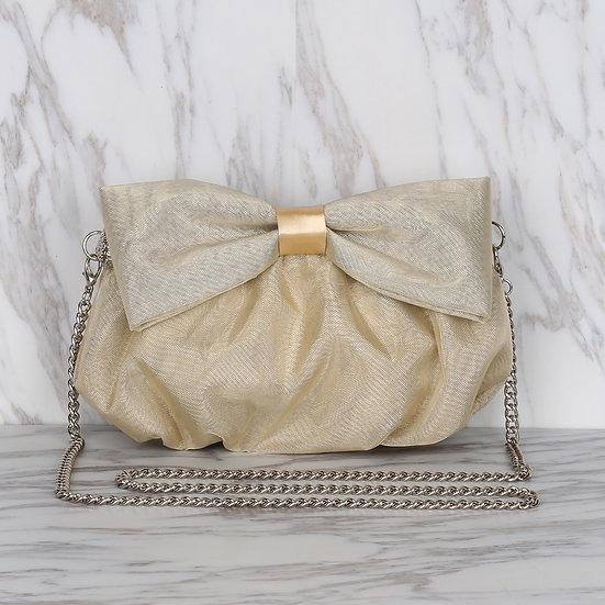 Light Gold Color Organza Ribbon Bow Evening Bag / Clutch Bag