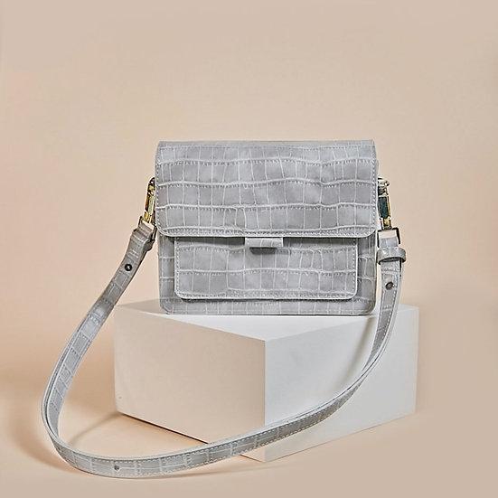 Coco Box light grey color croco pattern ladies shoulder bag