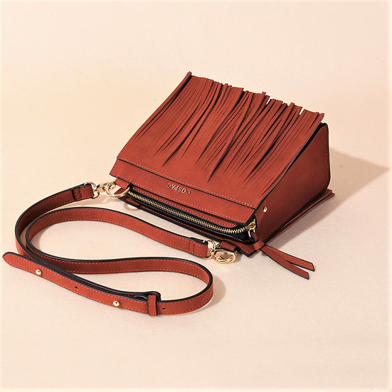 TASSO BOX Red Brown Color Square Shoulder Bag