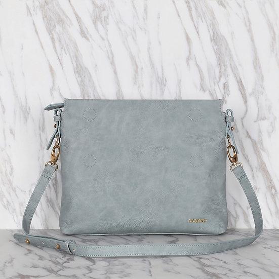 Blue Color Faux Leather Grande Clutch Bag / Shoulder Bag