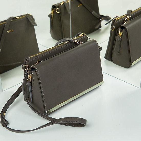 NIGHT BAG – Grey Color Vegan Leather Chain Shoulder Bag Set