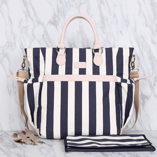 Navy blue and white striped cotton canvas mommy diaper bag