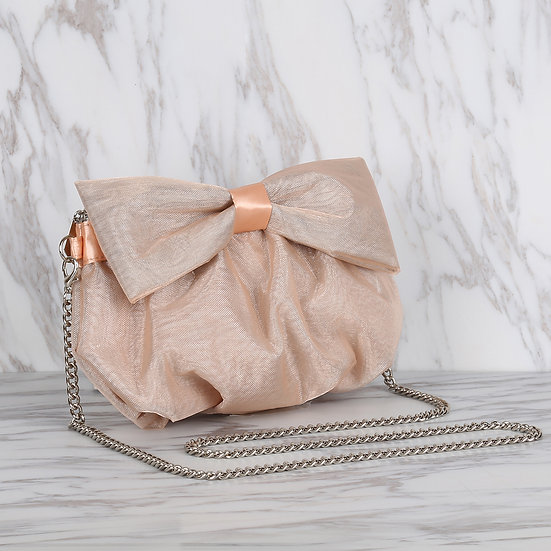 Champagne Color Organza Ribbon Bow Evening Bag / Clutch Bag