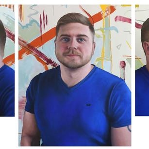 Kev in Blue triptych