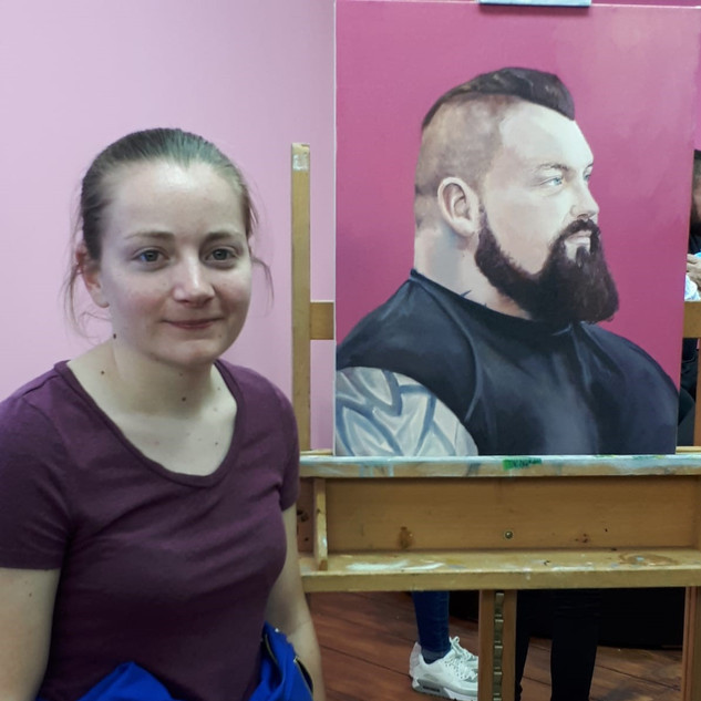 Me with the finished painting