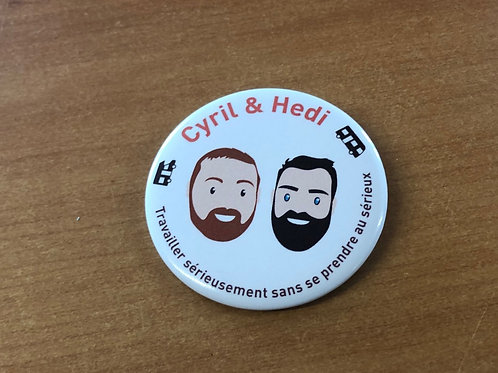 "Badge ""Cyril et Hedi"""