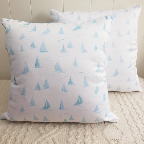 Blue Sailboat Pillow