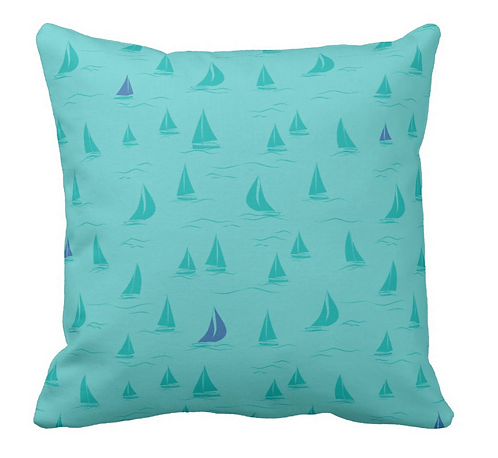 Turquoise Sailboat Pillows