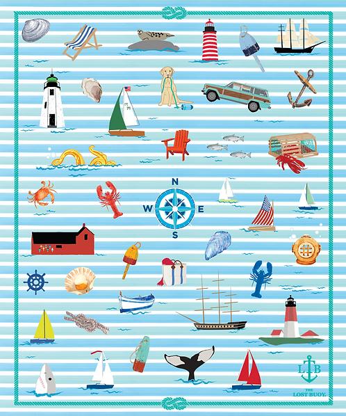 Coastal Stripes Plush Blanket