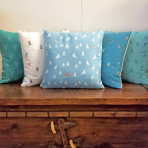 Light Blue Sailboat Pillow