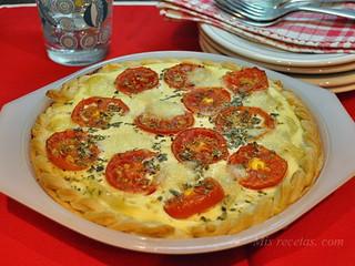 Quiche de cebolla y tomates de ristra