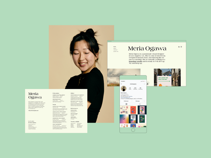 Meria Ogawa is a passionate visual designer in Los Angeles, California. She is a fan of streetwear over priced brunch and dancing like no one is watching. She's currently working at a branding studio.