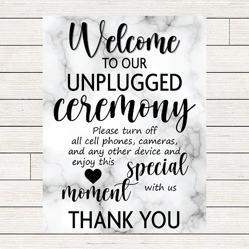 Marble Wedding Unplugged Ceremony Foam Sign
