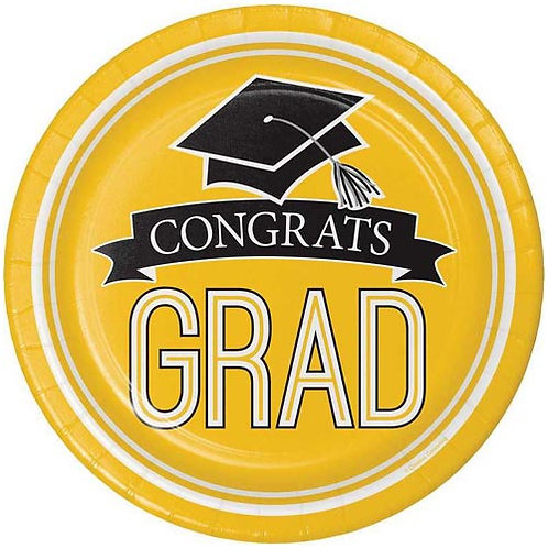 "9"" Yellow Congrats Grad Plates 18ct."