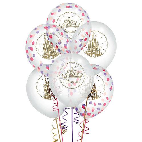 Disney Princess Confetti PACKAGED Latex Balloons 6ct. FLAT