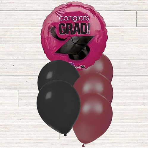 Burgundy/Maroon Grad Balloon Bouquet