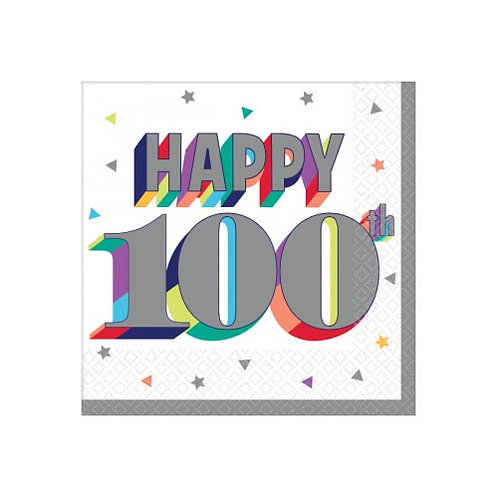100th Multi Milestone Beverage Napkins