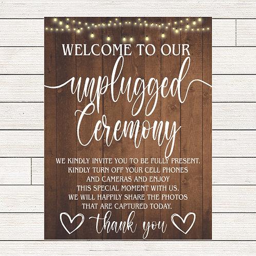 Rustic Wedding Unplugged Ceremony Foam Sign