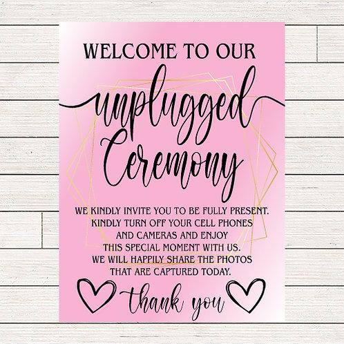 Blush Wedding Unplugged Ceremony Foam Board Sign