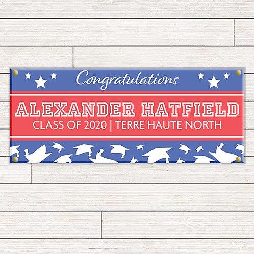 Stars & Caps Graduation Banner