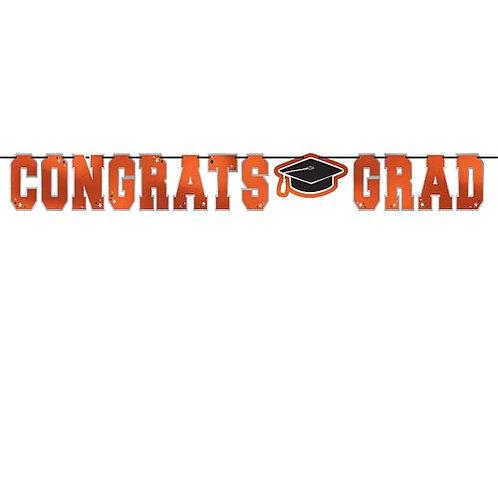 Orange Congrats Grad Banner