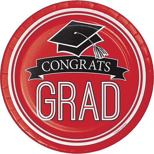 """9"""" Red Congrats Grad Plates 18ct."""