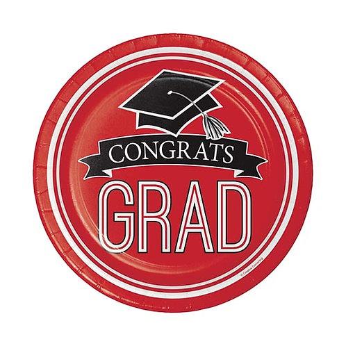 """7"""" Red Congrats Grad Plates 18ct."""
