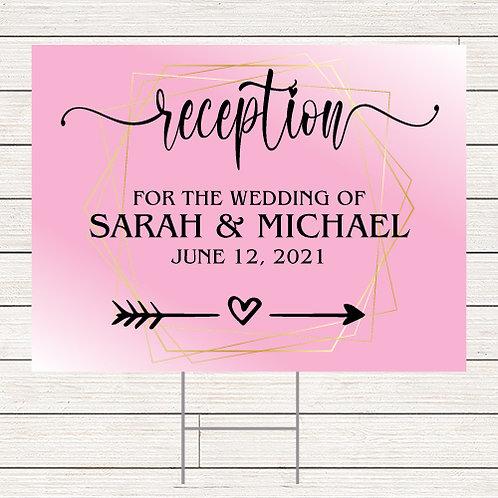 Blush Wedding Reception Yard Sign
