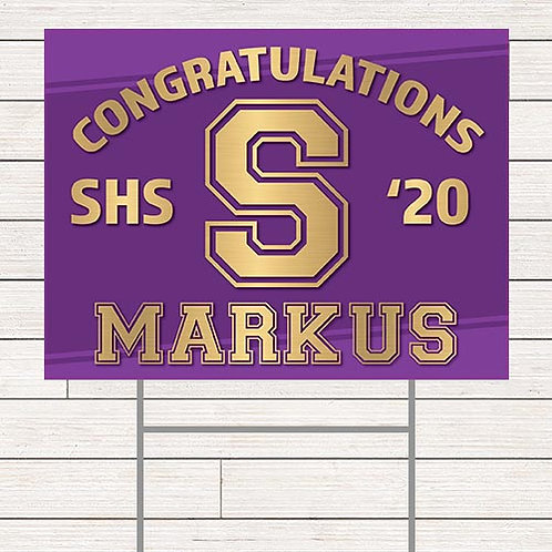 Gold Stamped Grad Yard Sign