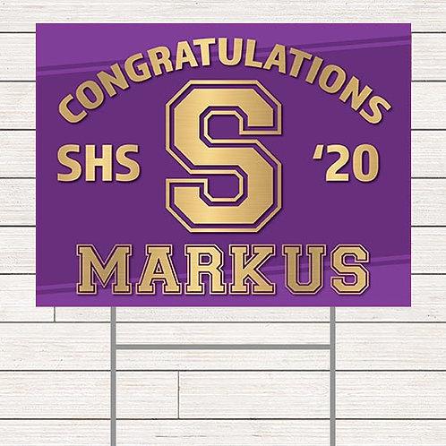 Gold Stamped Grad Yard Sign