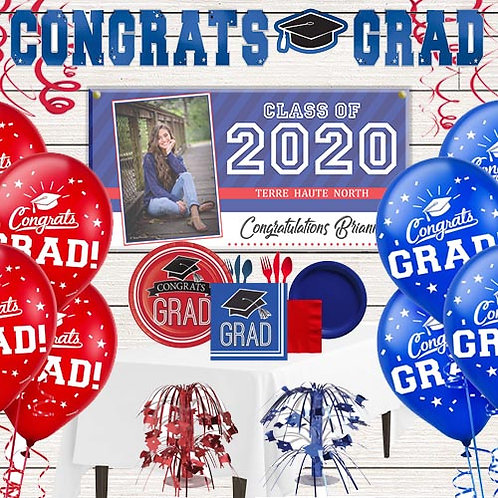 Blue & Red Grad Party Kit