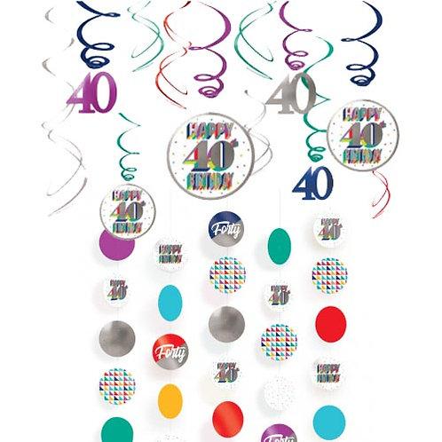 40th Multi Milestone Hanging Decor Kit