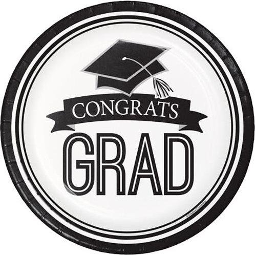 """9"""" White Congrats Grad Plates 18ct."""