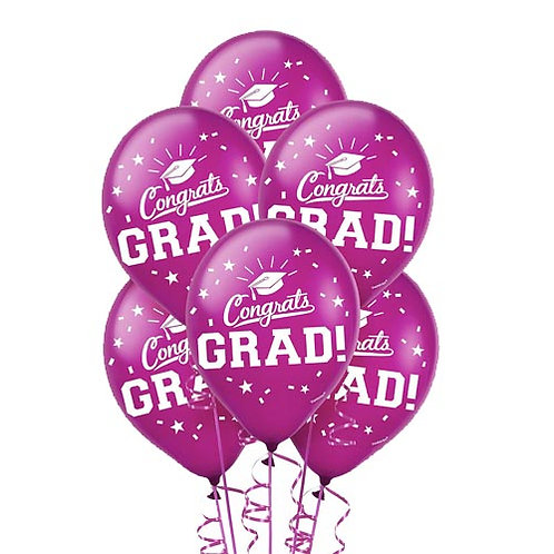 Burgundy/Maroon Packaged Latex Grad Balloons 15ct. FLAT