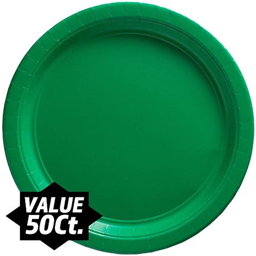 "Green 9"" Paper Plates 50ct."