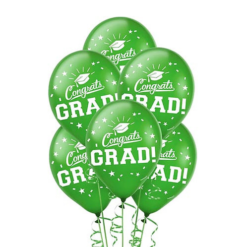 Green Packaged Latex Grad Balloons 15ct. FLAT