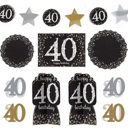 40th Sparkling Milestone Decorating Kit