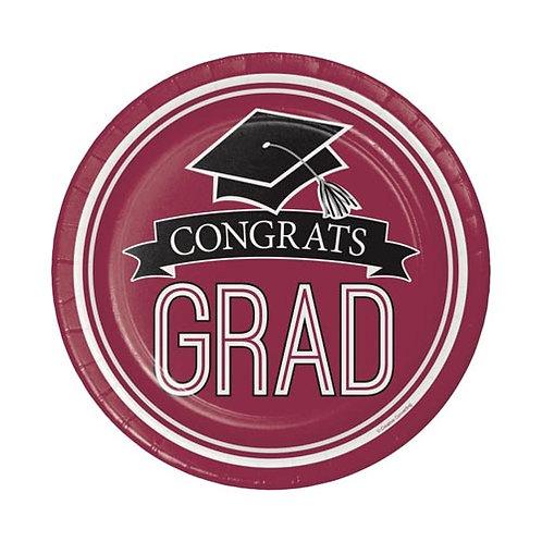 "7"" Burgundy/Maroon Congrats Grad Plates 18ct."