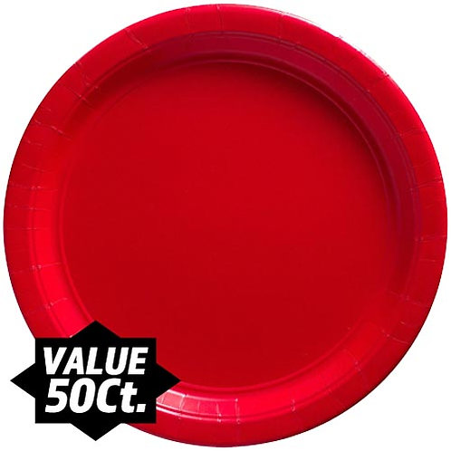 """Red 9"""" Paper Plates 50ct."""