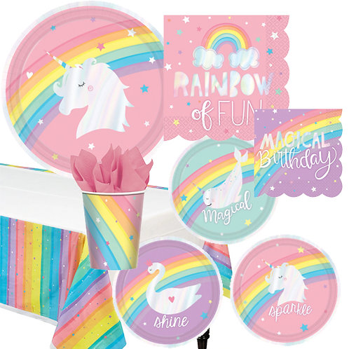 Metallic Rainbow Unicorn Tableware Kit