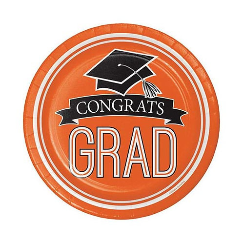 "7"" Orange Congrats Grad Plates 18ct."