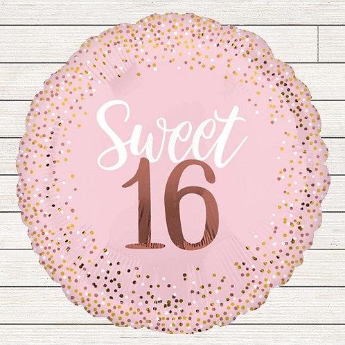 """28"""" Sweet 16 Rose Gold Balloon"""