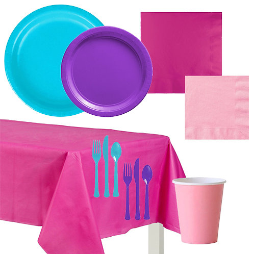 Girl's Brights Solid Value Tableware Kit
