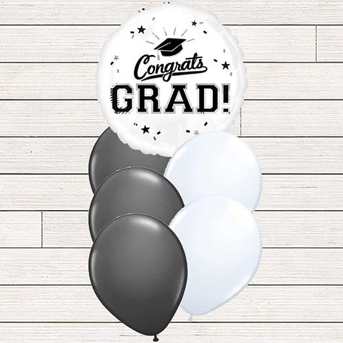 Black & White Grad Balloon Bouquet