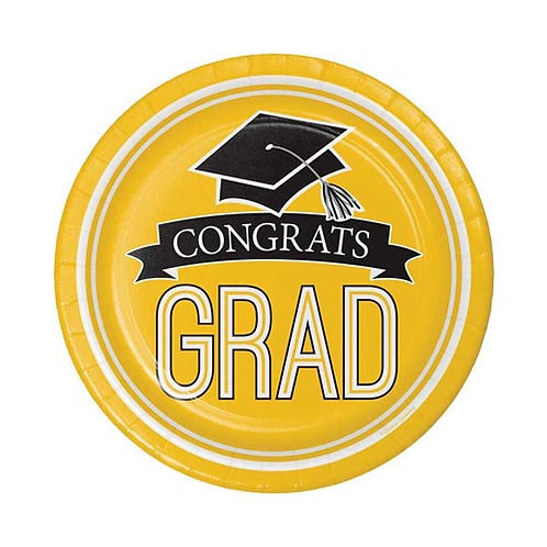 "7"" Yellow Congrats Grad Plates 18ct."