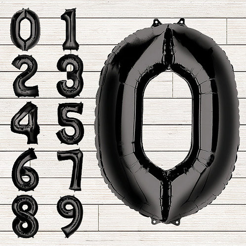 Black Jumbo Number Mylar Balloon