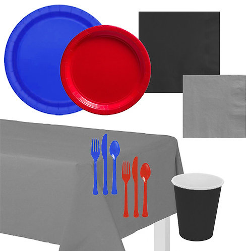 Red & Blue Solid Value Tableware Kit