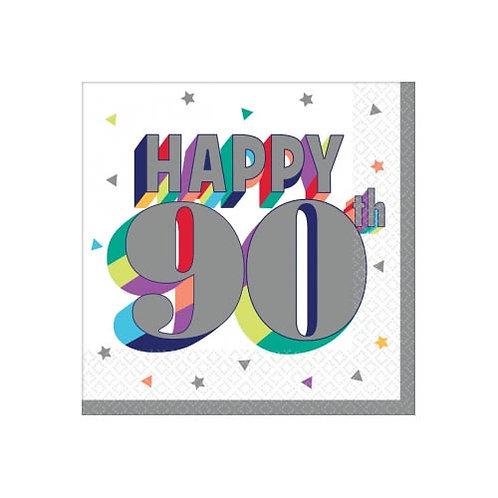 90th Multi Milestone Beverage Napkins