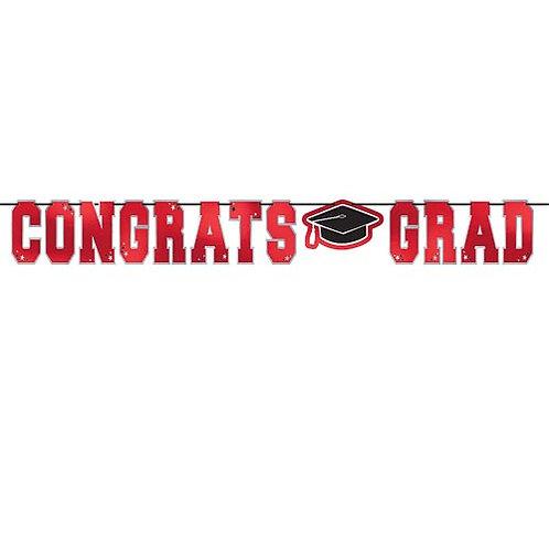 Red Congrats Grad Banner