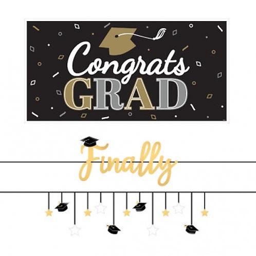 Black & Gold Grad Banner Kit